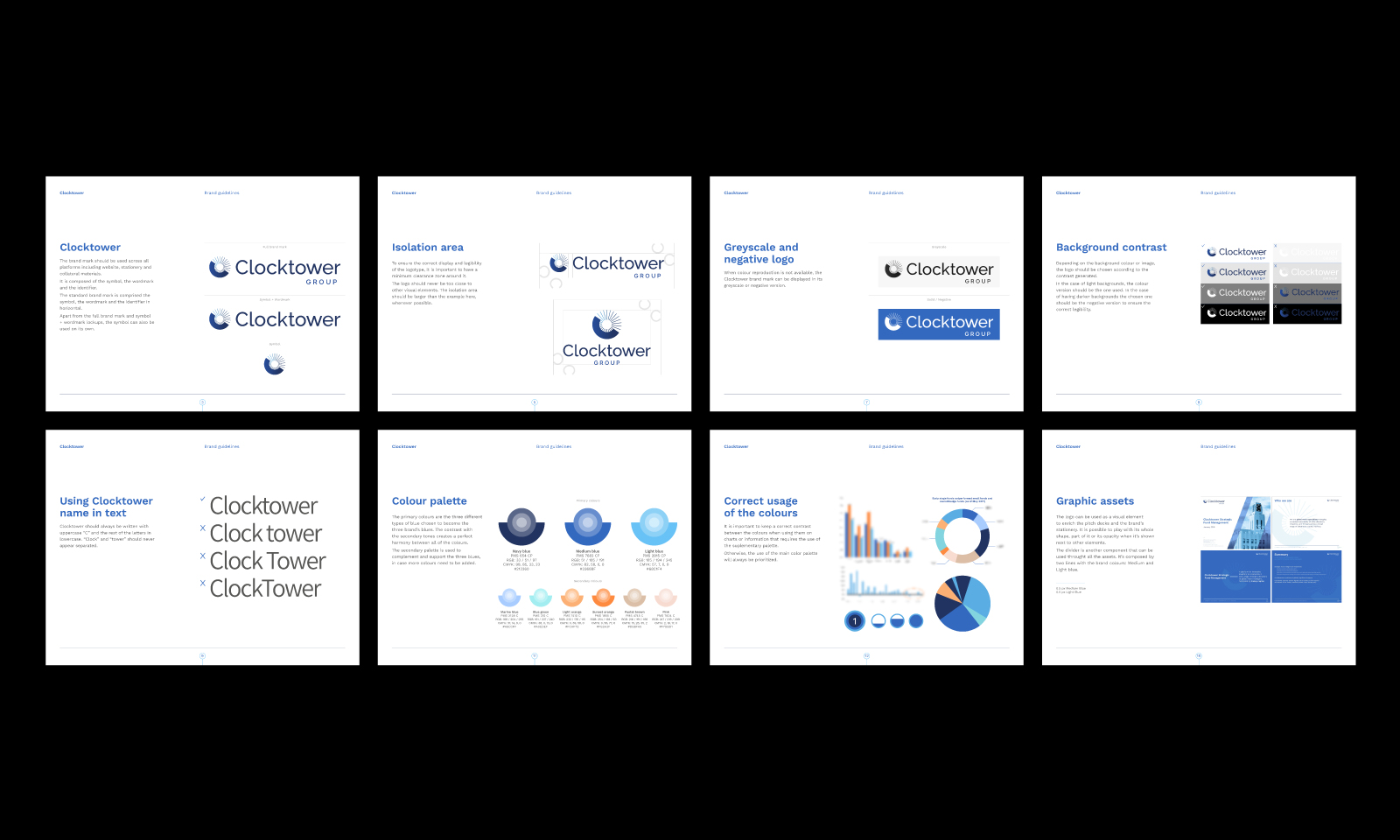 clocktower brand identity design corporate pitch deck presentation investor