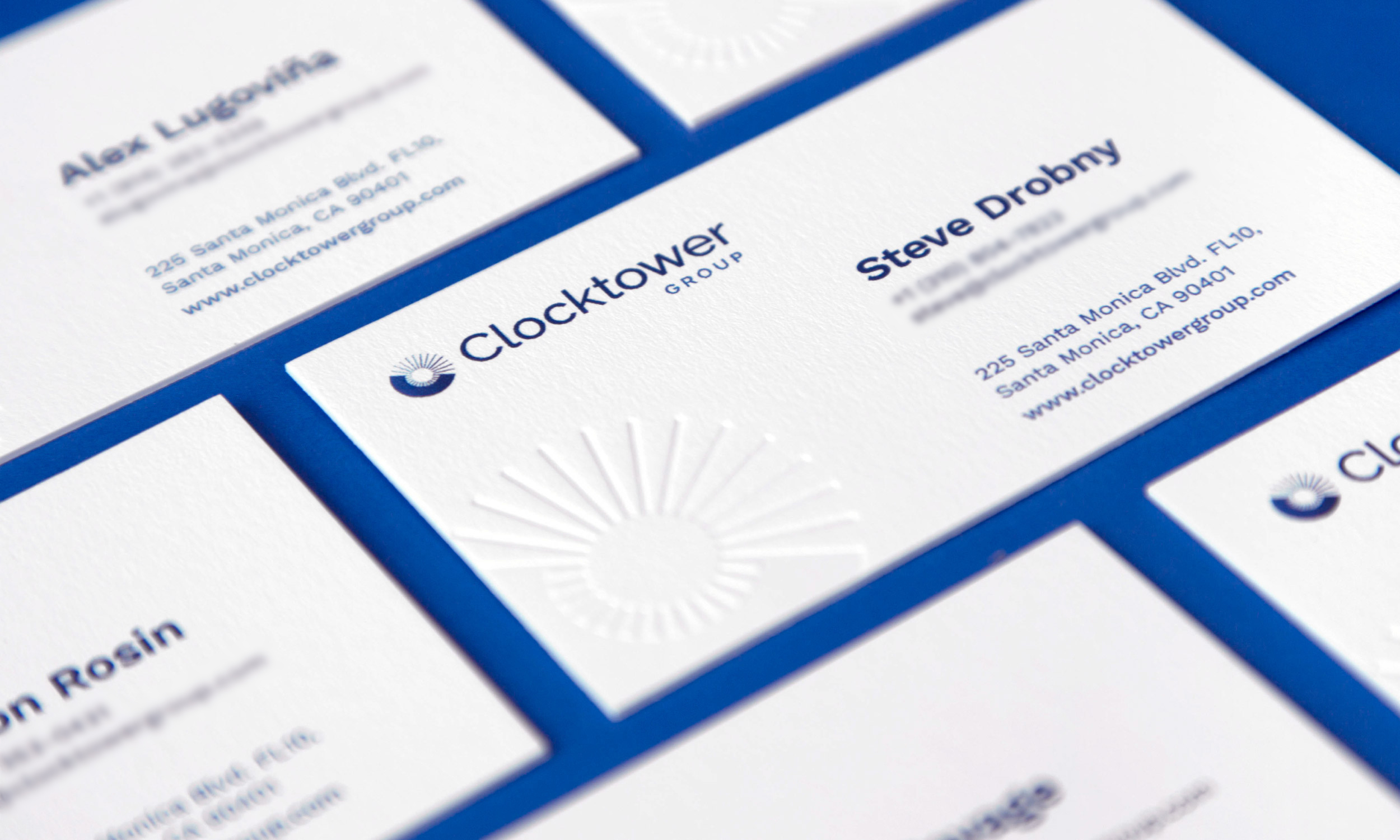 clocktower brand identity design corporate business cards